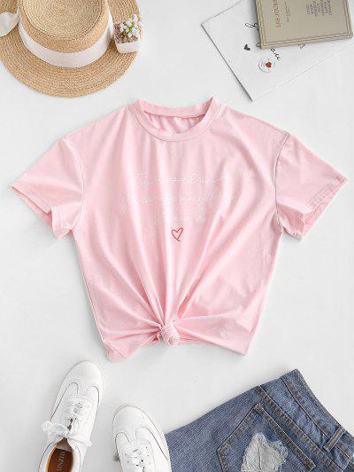 ZAFUL Heart Letter Graphic Tee - Pink L