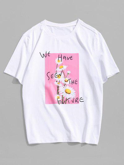 ZAFUL T-shirt Décontracté Motif De Lettre Fleur - Blanc M