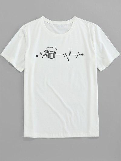 ZAFUL Camiseta Corta Con Manga Estampada De Gráfico - Blanco Xl