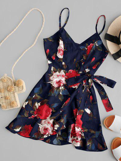 ZAFUL Floral Print Ruffles Mini Wrap Dress - Dark Slate Blue S