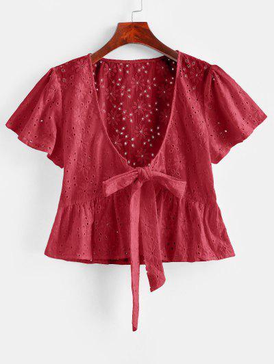 Blusa Volantes Frente Anudado Broderie Anglaise - Rojo Lava S