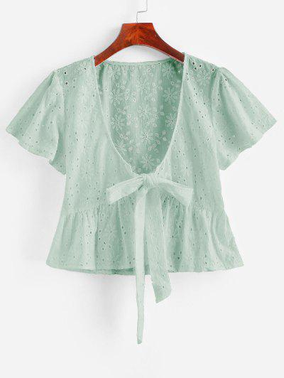 Broderie Anglaise Tie Front Flounce Blouse - Mint Green M