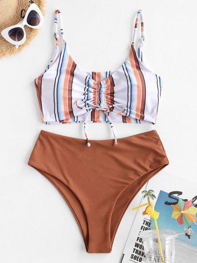 ZAFUL Striped Cinched High Waisted Tankini Swimwear - Multi-a L