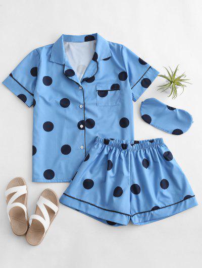 Polka Dot Pocket Binding Shirt Pajamas Set - Blue S