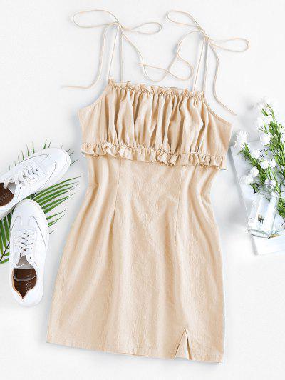 ZAFUL Ruched Ruffle Slit Tie Shoulder Dress - Apricot M