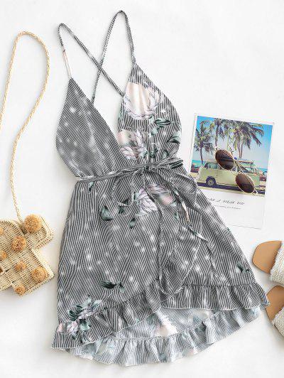 Floral Criss Cross Ruffles Mini Dress - Black M