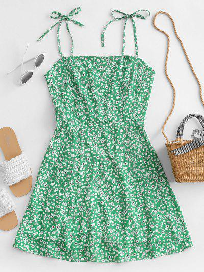 Tiny Floral Tie Strap Flare Dress - Green S