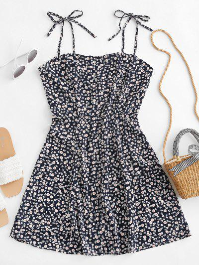 Tiny Floral Tie Strap Flare Dress - Deep Blue S