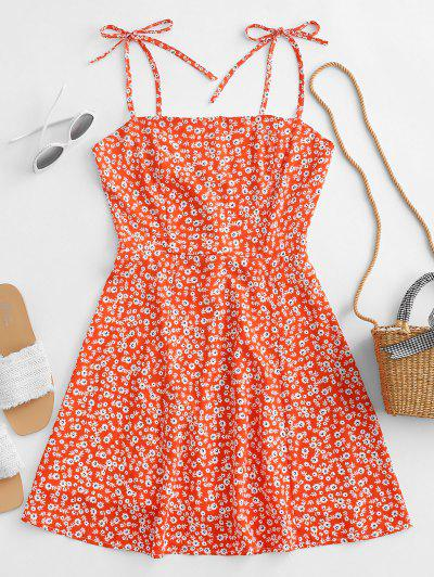 Tiny Floral Tie Strap Flare Dress - Pumpkin Orange M