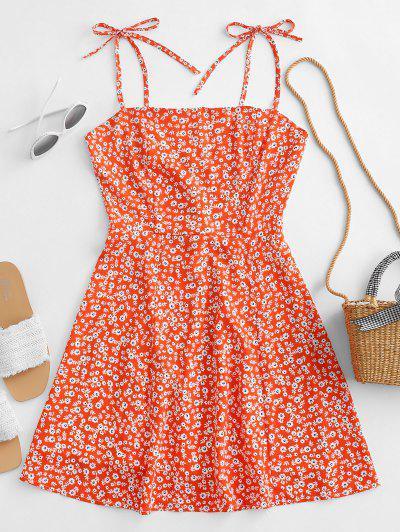 Vestido Ajustado Estampado Floral Pequeño Cinturón - Naranja De Calabaza  M