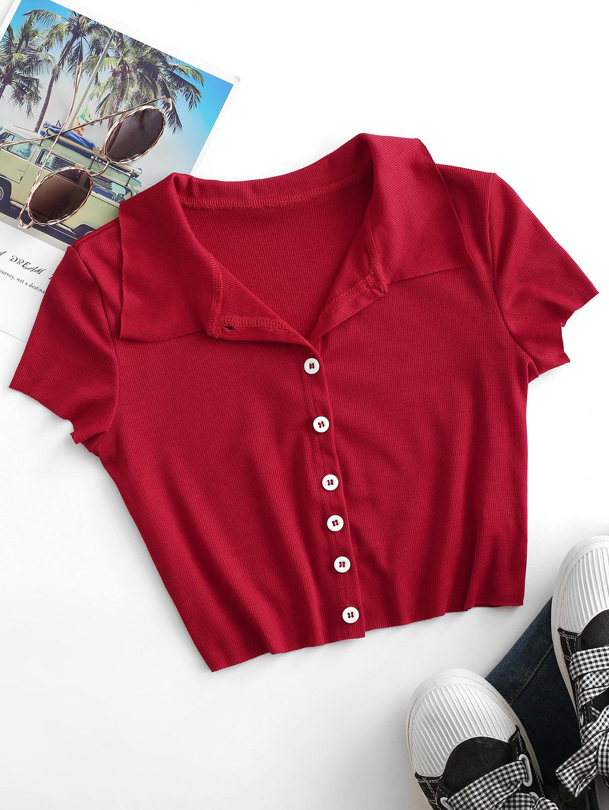 Ribbed Button Up Fitted Crop T-shirt