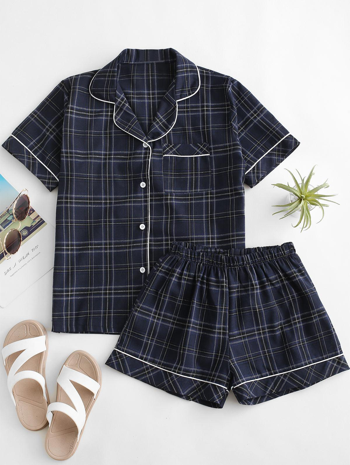 Checks Binding Pocket Shirt Pajamas Set