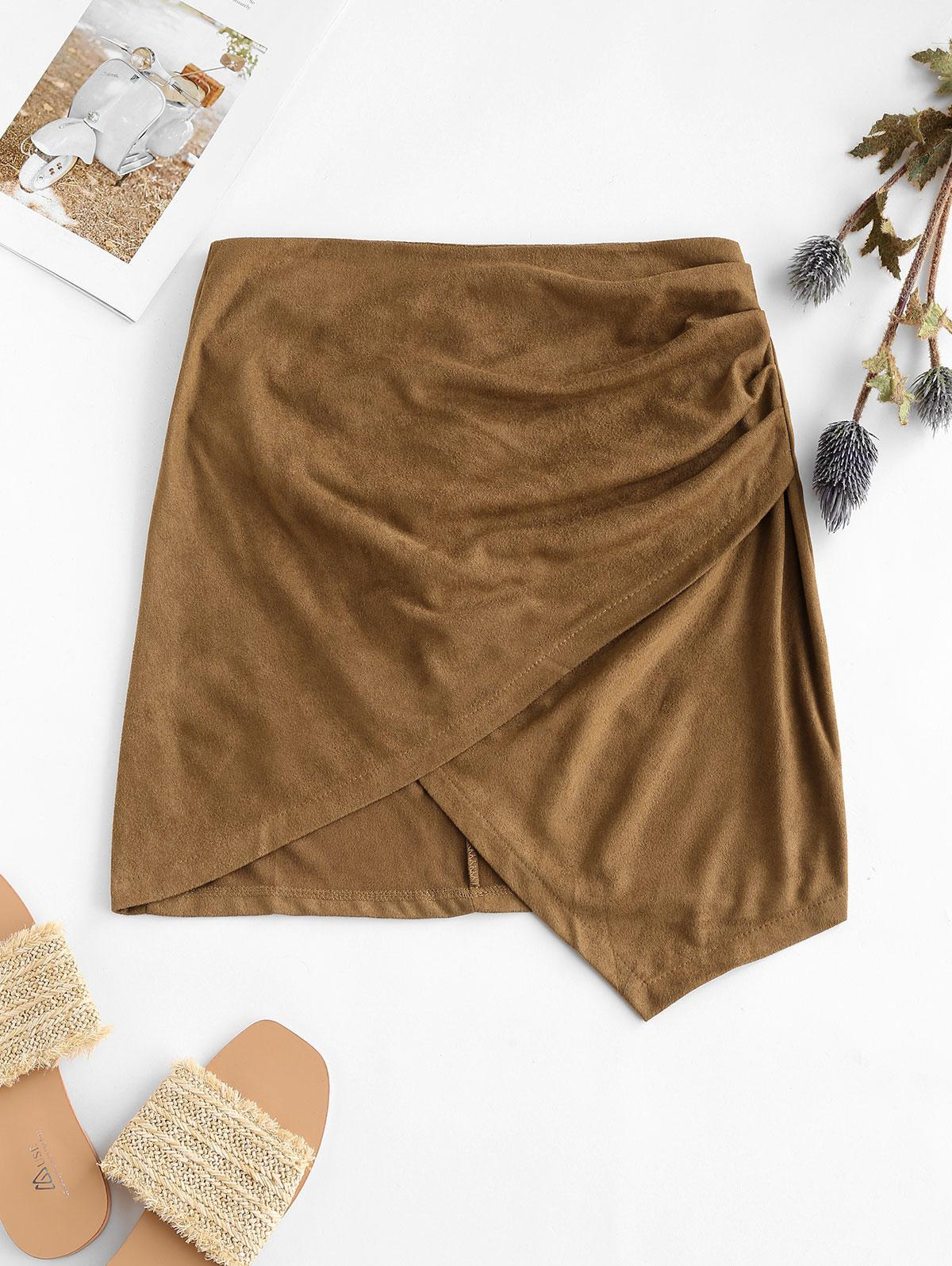 Faux Suede Tight Asymmetrical Skirt