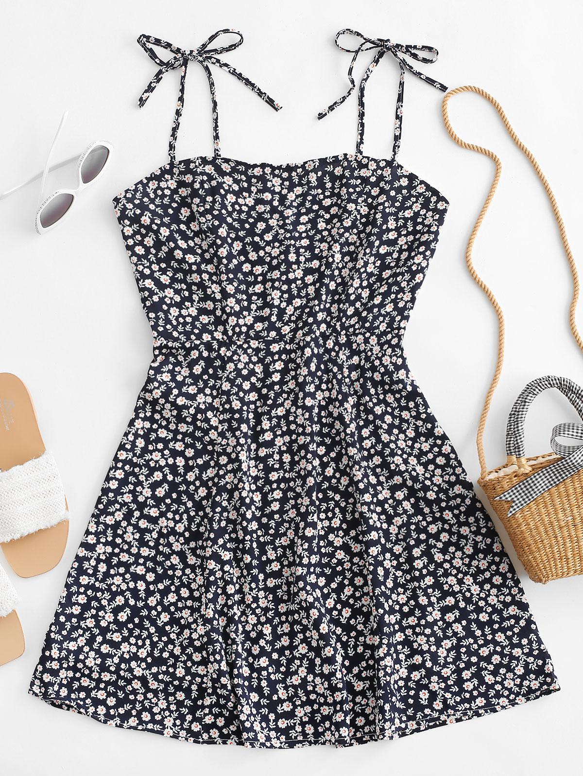 Tiny Floral Tie Strap Flare Dress