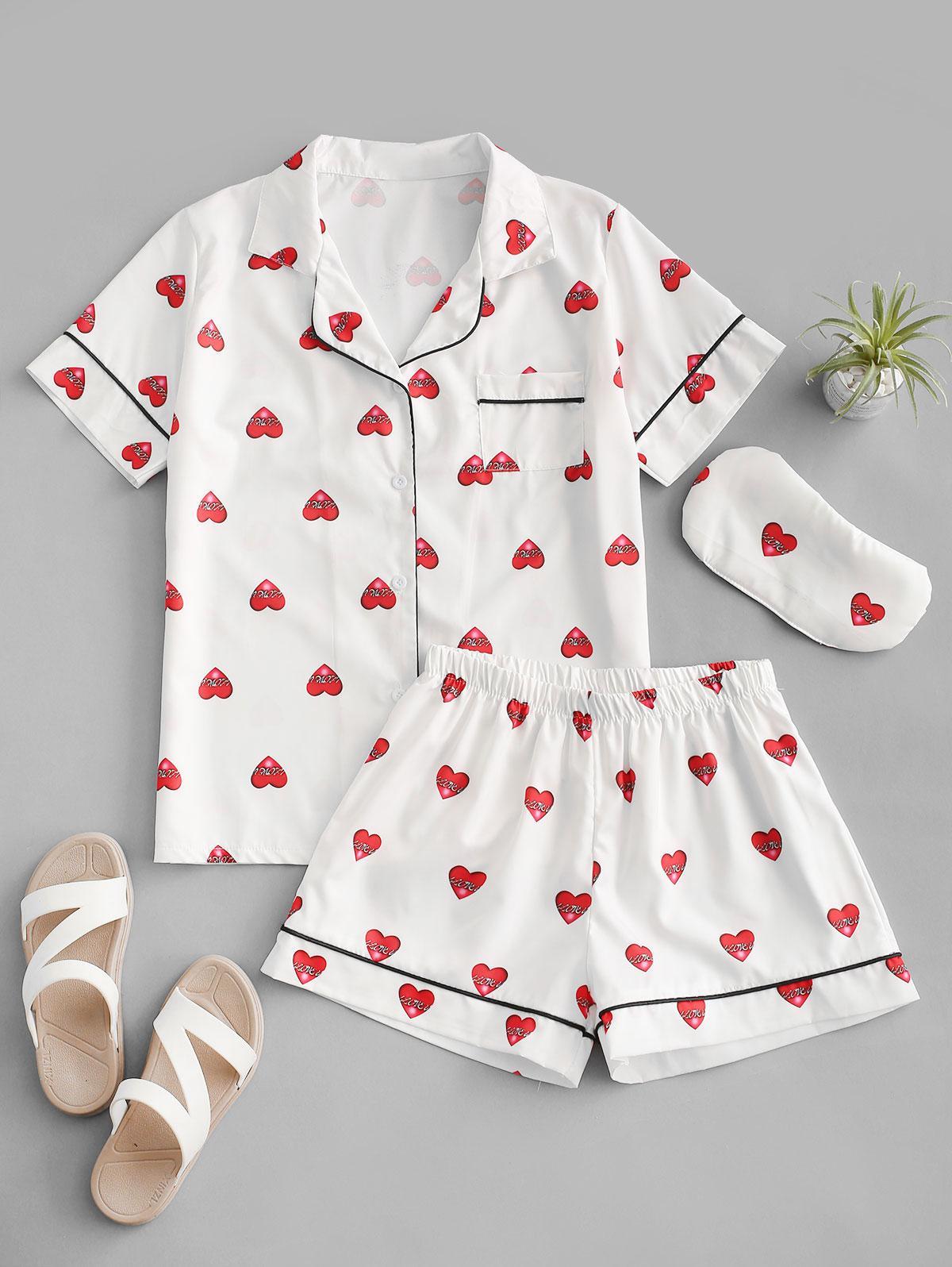 Hearts Print Binding Pocket Two Piece Pajamas Set