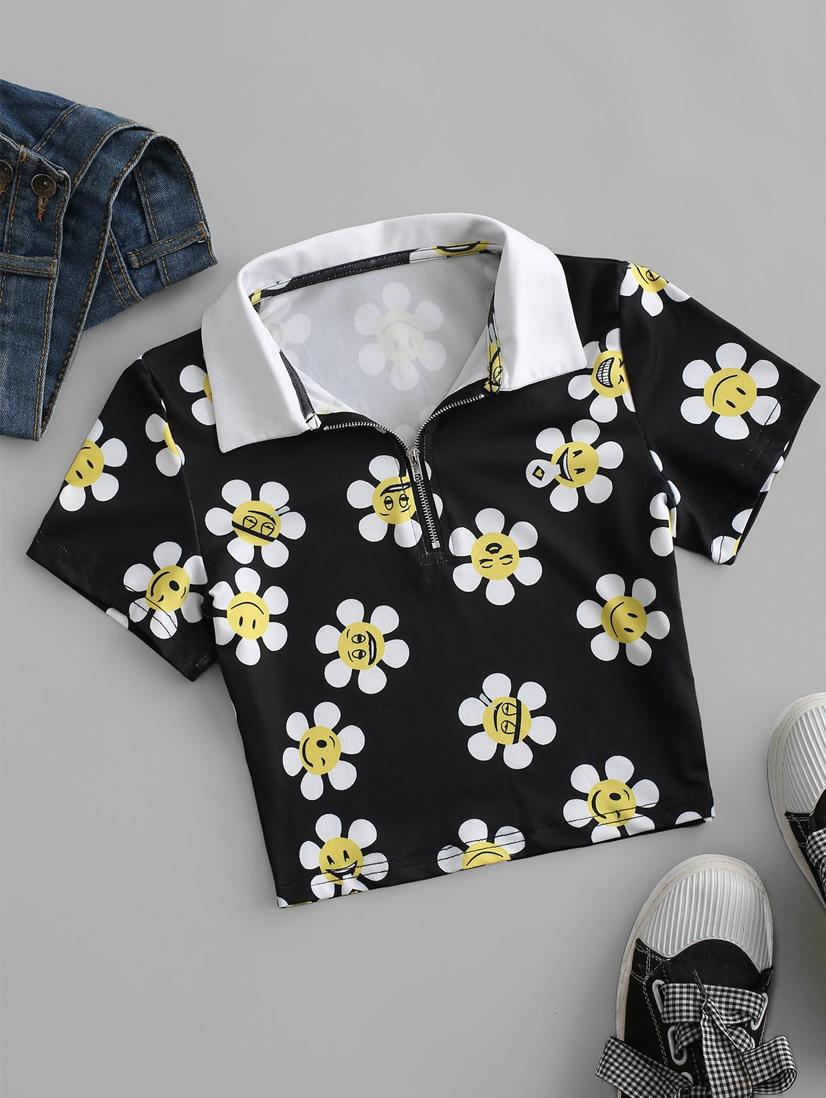 Cartoon Flower Print Half Zip Crop T-shirt
