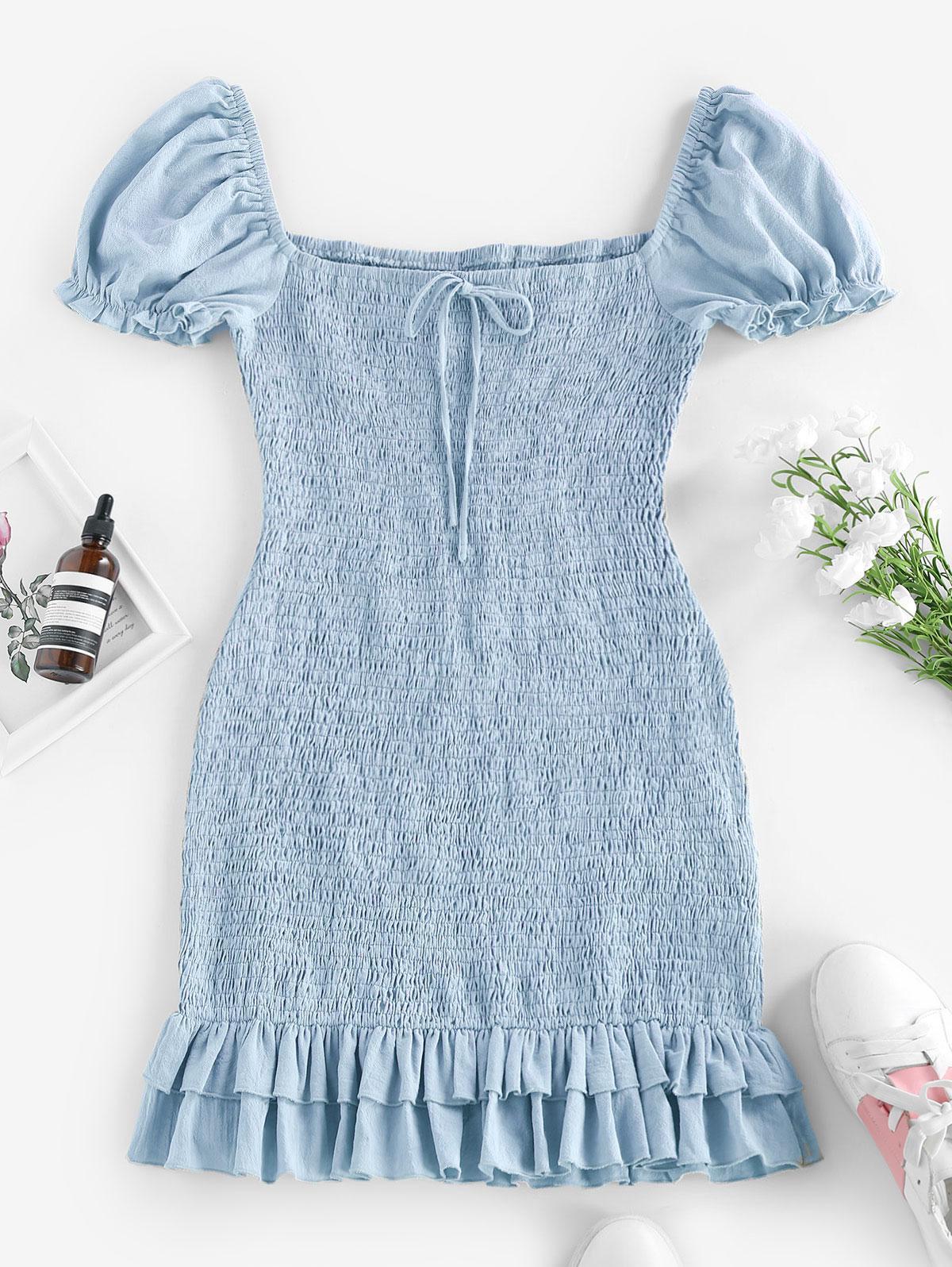 ZAFUL Smocked Bowknot Mermaid Mini Dress