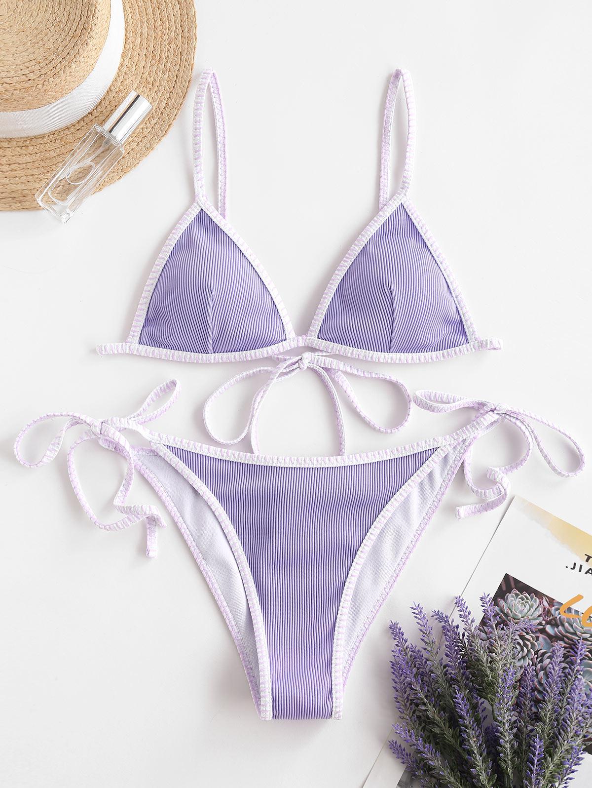 ZAFUL Whip Ribbed Tie String Bikini Swimsuit, Mauve