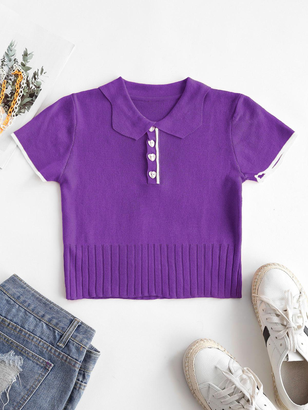 Half Button Ribbed Cropped T-shirt
