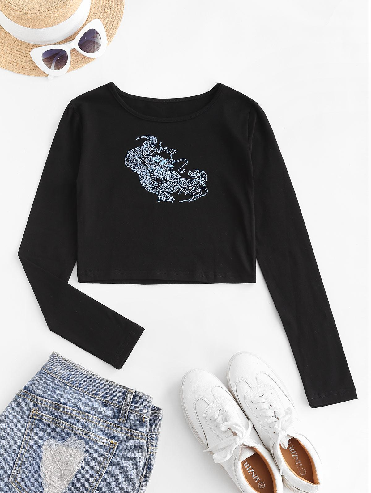 Dragon Print Oriental Crop T-shirt