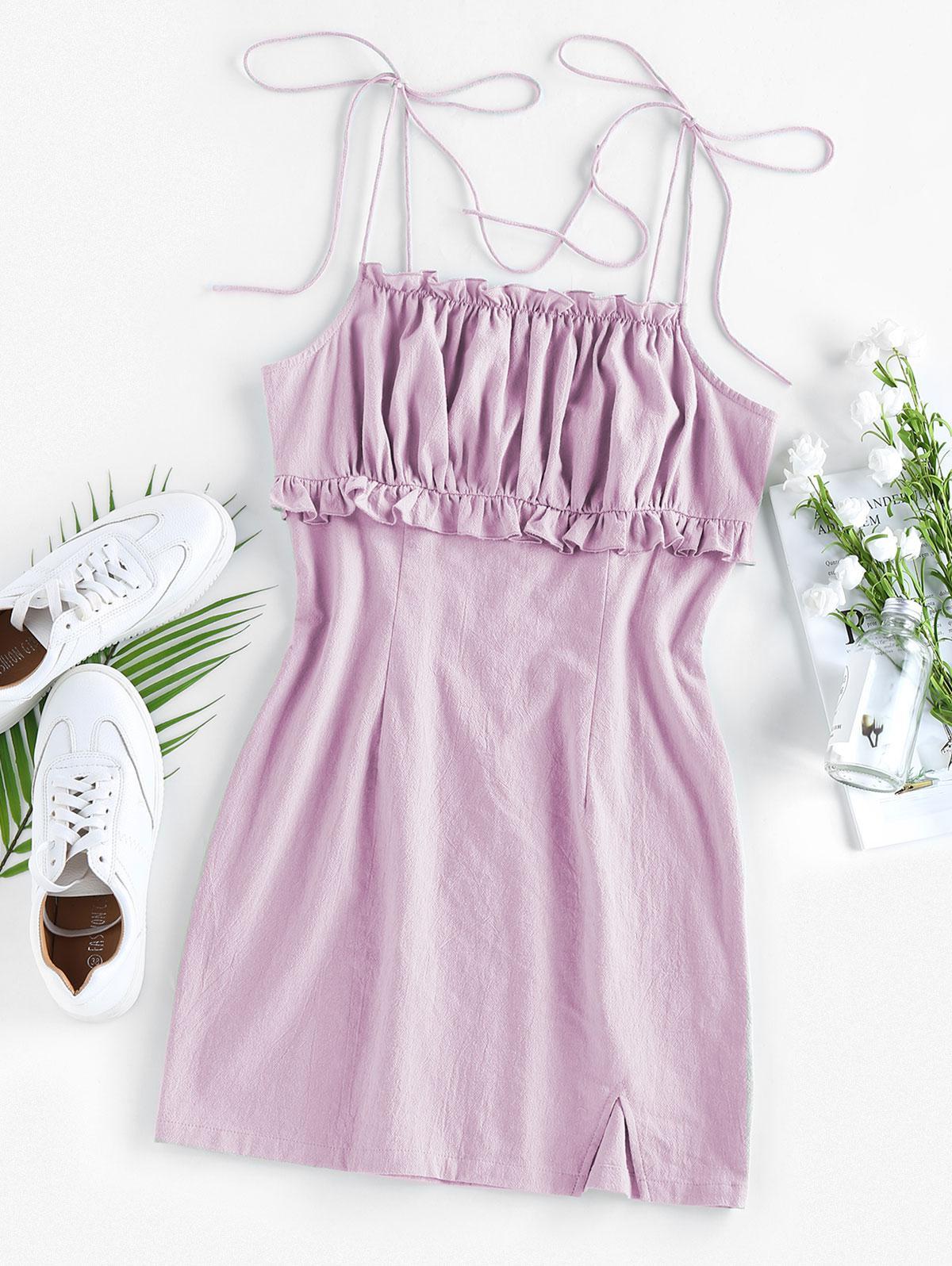 ZAFUL Ruched Ruffle Slit Tie Shoulder Dress