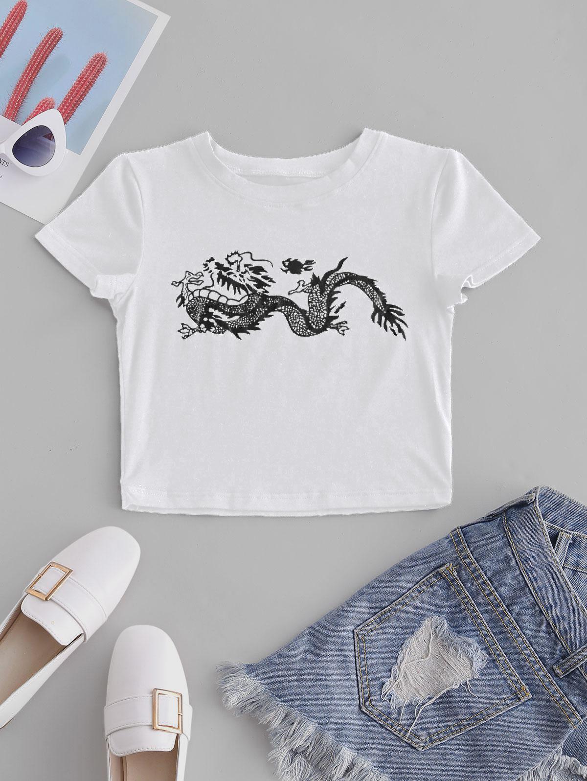 ZAFUL Oriental Dragon Print Crop Slim Tee thumbnail