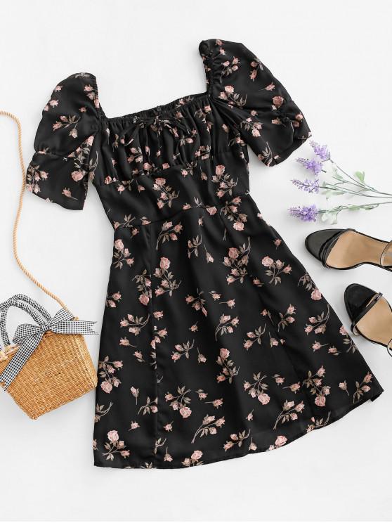 women Tie Collar Rose Floral Smocked Back Milkmaid Dress - BLACK S