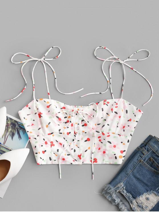 best Tie Shoulder Button Up Ditsy Floral Cami Top - WHITE M