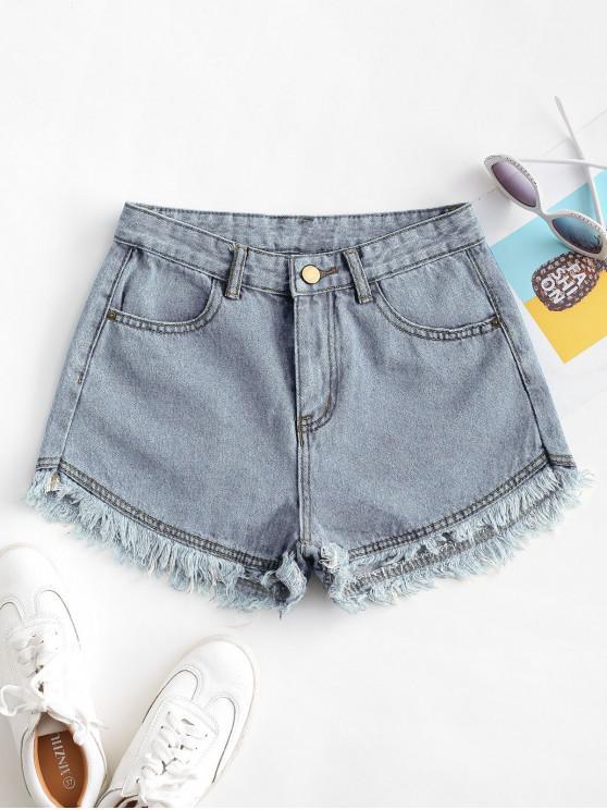 Shorts de Brim Rugoso com Bainha Desfiada e Bolsos - Azul claro M