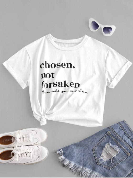 women's ZAFUL Chosen Not Forsaken Graphic Basic T-shirt - WHITE XL