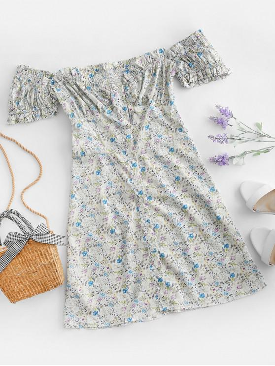Button Up Puff Sleeve Ditsy Floral Dress - متعددة-A L