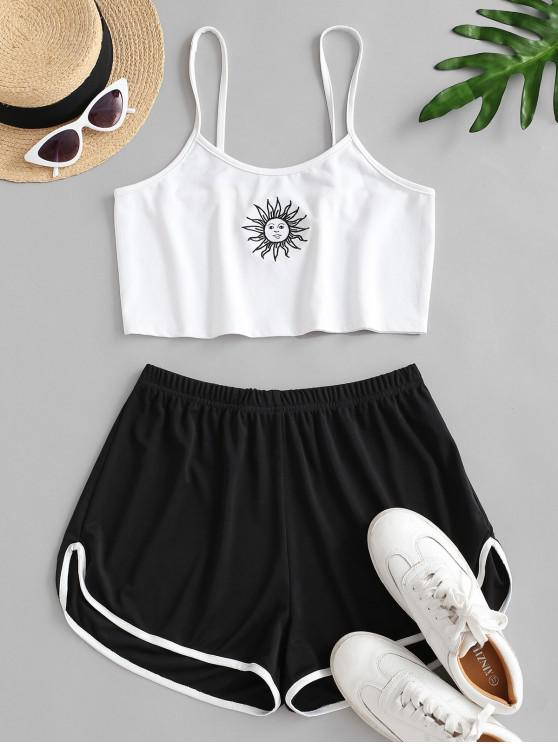 latest Sun Embroidered Contrast Piping Two Piece Set - WHITE L