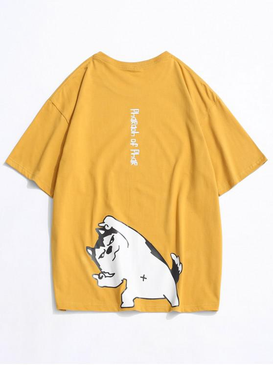 Cartoon Dog Letter Printed T-shirt - أصفر فاقع 3XL