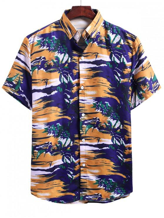 Beach Glow Plant Print Vacation Shirt - متعددة F 2XL