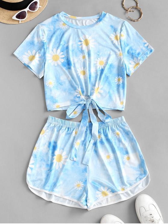 Top e Pantaloncini di Tie-Dye con Stampa Nuvola e Fiori - Blu S