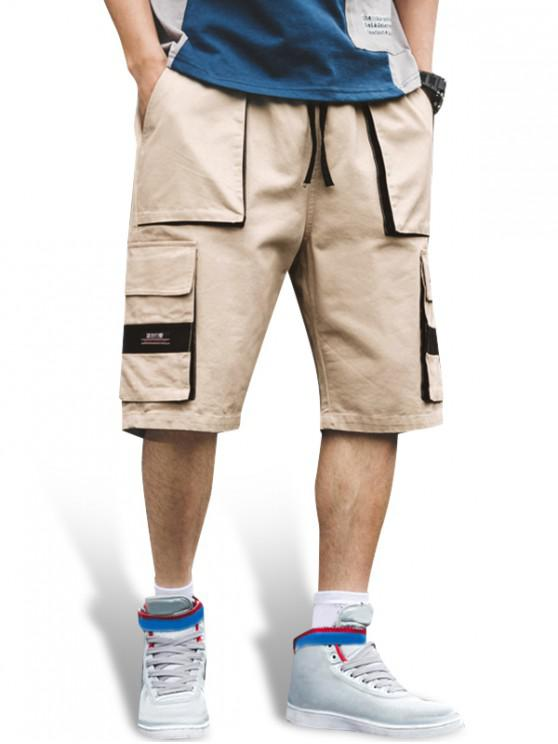 Letter Print Pocket Decorated Shorts - كاكي 3XL