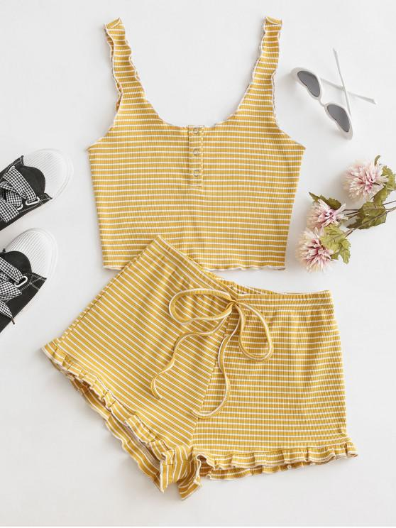 unique Ribbed Striped Snap Button Ruffle Shorts Set - SUN YELLOW S