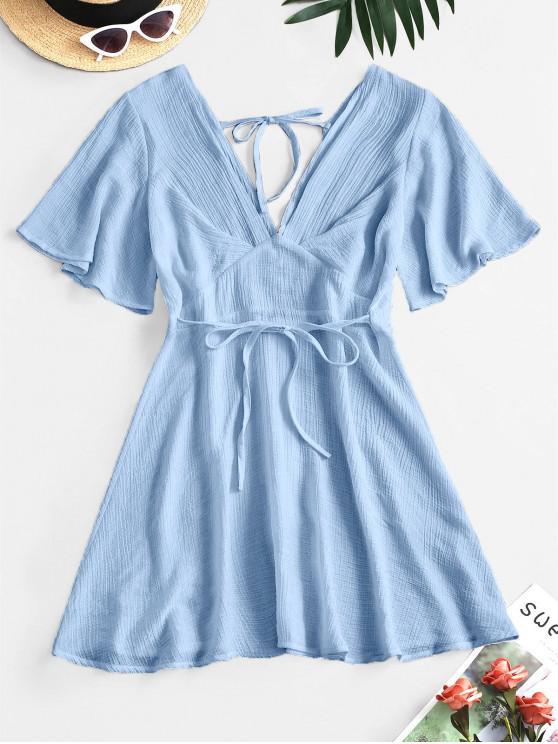 women Plunging Open Back Tie Textured Dress - SKY BLUE L