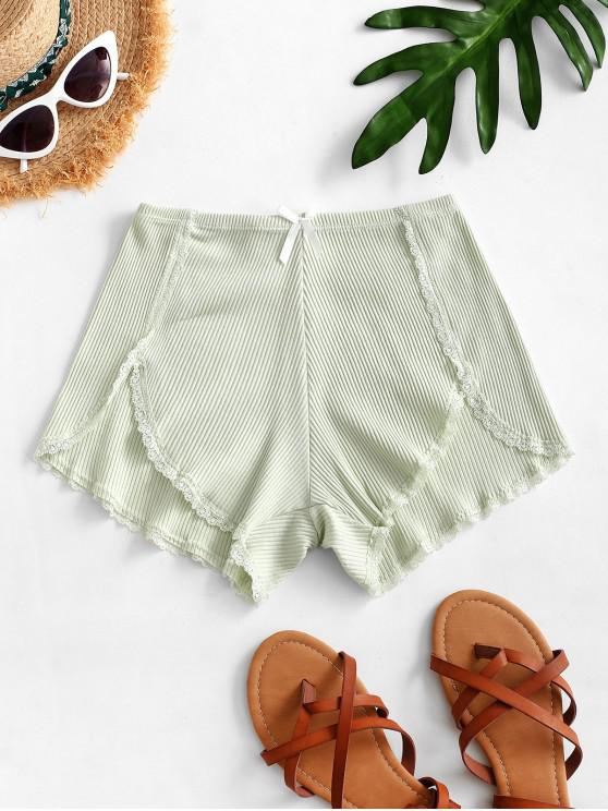 buy Ribbed Lace Trim Slip Shorts - PALE BLUE LILY ONE SIZE