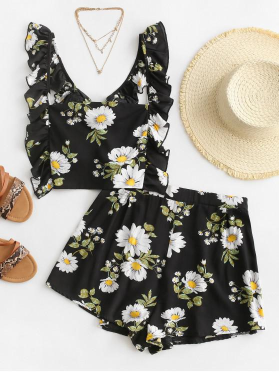 womens Flower Print Ruffle Tie Back Loose Shorts Set - BLACK L