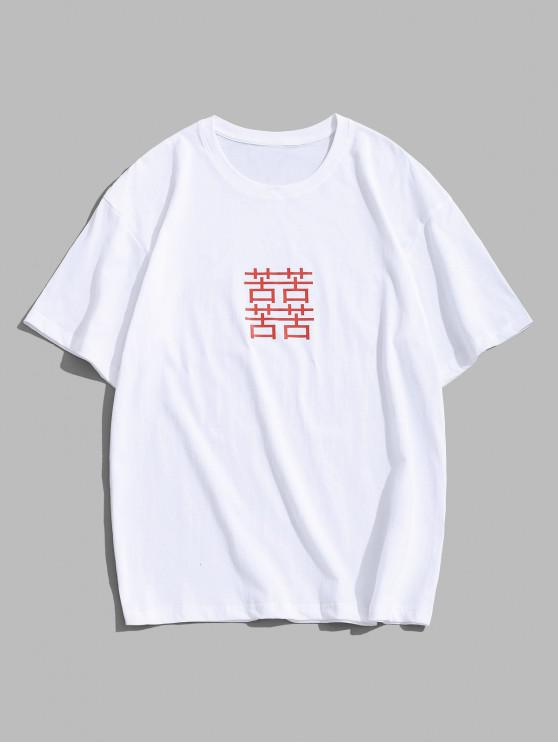 ladies Chinese Character Print Basic T-shirt - WHITE 3XL