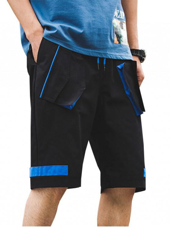 Multi-pocket Color Spliced Cargo Shorts - أسود L