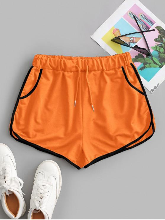 hot Drawstring Running Shorts - ORANGE S