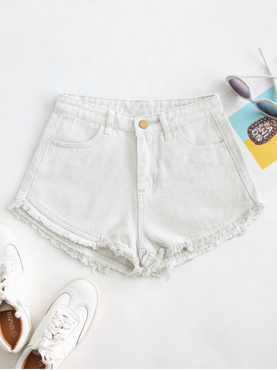 outfit Pockets Frayed Hem Denim Cutoff Shorts - WHITE M