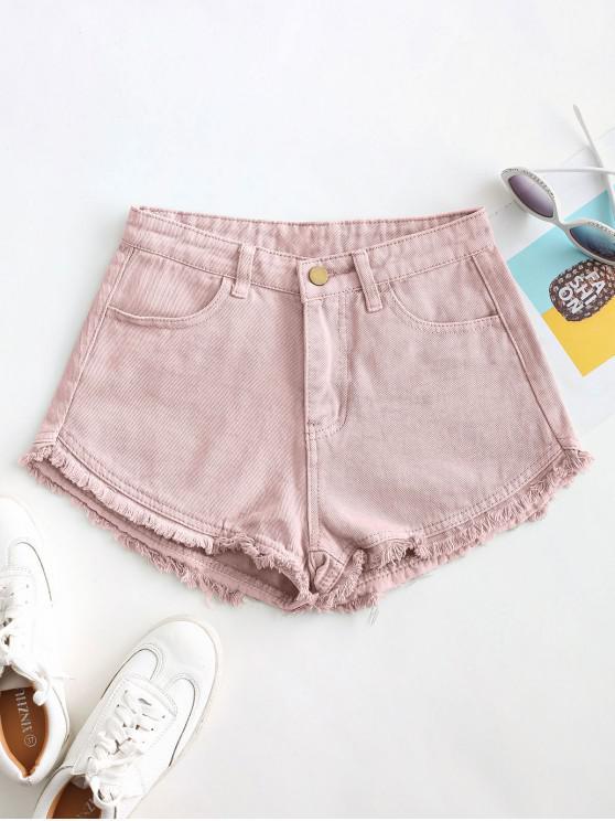 Shorts de Brim Rugoso com Bainha Desfiada e Bolsos - Rosa L