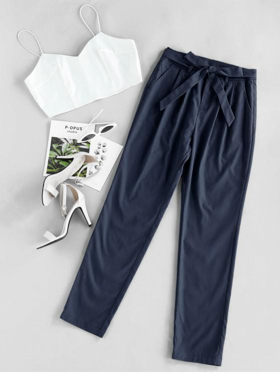 lady ZAFUL Cami Crop Top With Pants Two Piece Set - CADETBLUE M