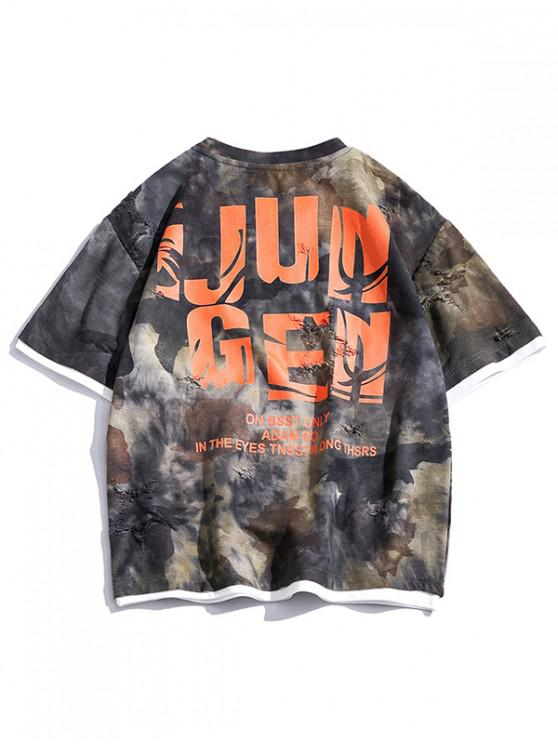 Letter Graphic 2fer Ripped T-shirt - متعددة-B 3XL