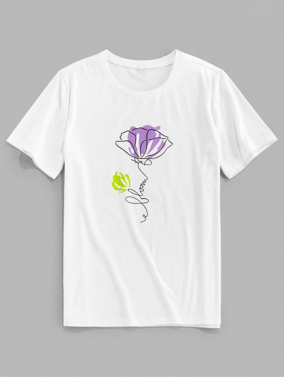 ZAFUL Flower Printed Short Sleeves T-shirt - أبيض S