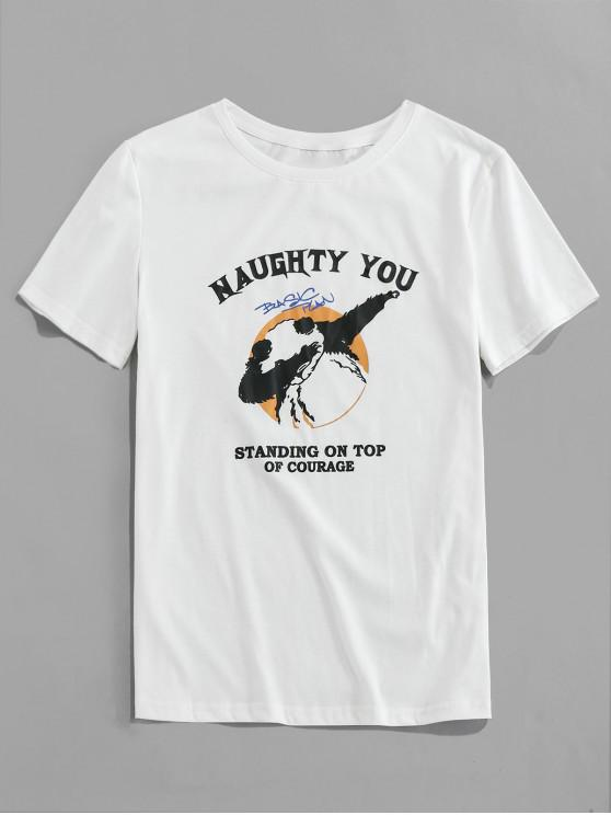 outfits ZAFUL Letter Cartoon Print Short Sleeves T-shirt - WHITE XL