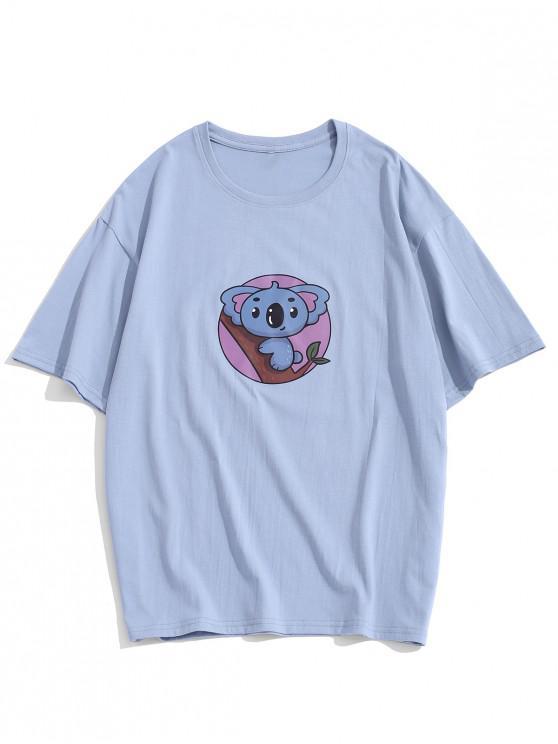 affordable Basic Cartoon Animal Print T-shirt - SKY BLUE 3XL